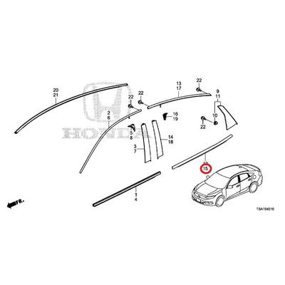 [NEW] JDM HONDA CIVIC FC1 Rear door molding Assy (L) 72950-TEG-J01 GENUINE OEM