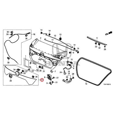 [NEW] JDM HONDA CIVIC FC1 Rear license garnish Assy body color code (NH830M) 74890-TEG-J11ZB GENUINE OEM