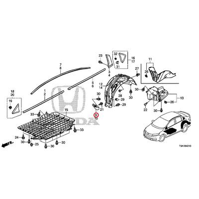 [NEW] JDM HONDA GRACE GM6 Strake, R. Rear 74475-T9A-T00 GENUINE OEM