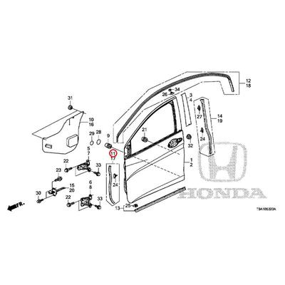 [NEW] JDM HONDA GRACE GM6 Front door front sub-seal (R) 72324-T9A-T01 GENUINE OEM