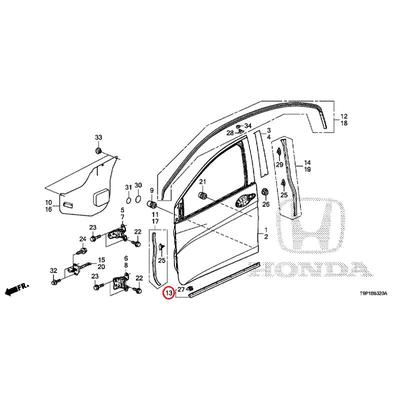 [NEW] JDM HONDA GRACE HYBRID GM4 Front door lower seal 72326-T9A-T01 GENUINE OEM