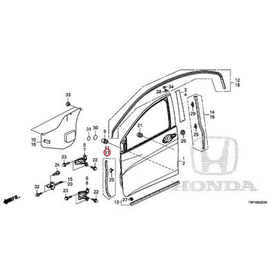 [NEW] JDM HONDA GRACE HYBRID GM4 Front door front sub-seal (L) 72364-T9A-T01 GENUINE OEM