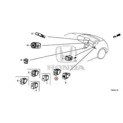 [NEW] JDM HONDA FIT GK5 Switch ASSY., Front encounter Sir & Auto retractable off (comfort view package) 35500-T5A-J13 GENUINE OEM
