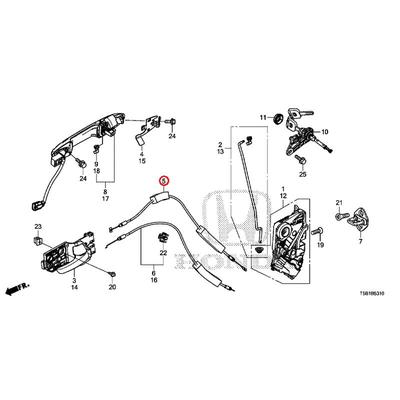 [NEW] JDM HONDA FIT GK5 Cable, front inside handle 72131-T5A-003 GENUINE OEM